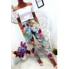 Pantalon fluide très agréable à porter en coton, motif fleuri turquoise avec poche et lacet