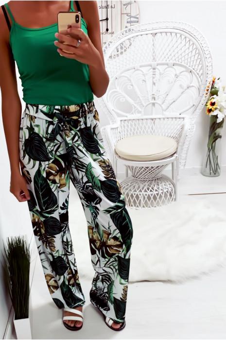 Joli pantalon palazzo blanc motif fleuri très tendance