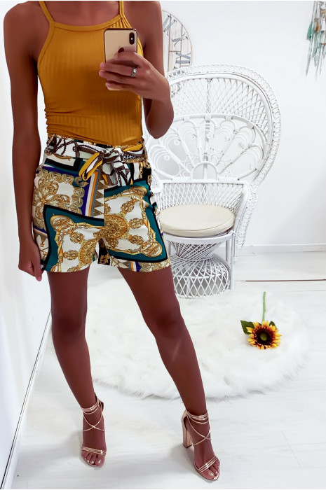 Shorts met zeer trendy patroon overwegend groen met zak en ceintuur 3-77