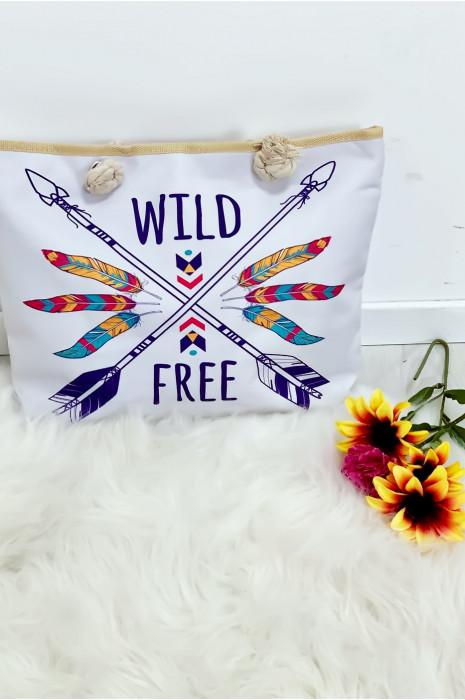 Joli sac de plage très chic motif plume. bag-67