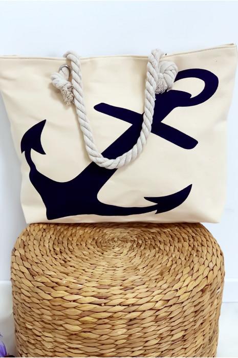 Joli sac de plage très chic motif marin avec fermeture. bag-71