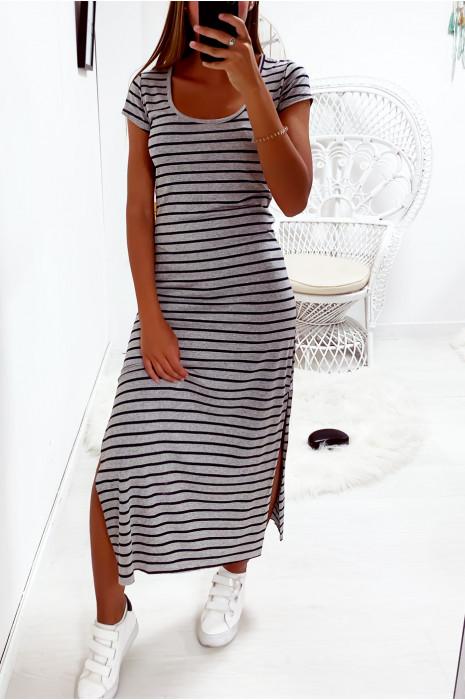 Longue robe marinière couleur gris et noir avec fente