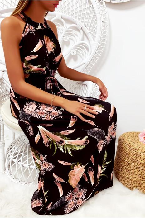 Longue robe très chic à motif noir et beige avec ceinture