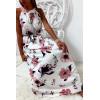 Longue robe très chic à motif blanc et rose avec ceinture