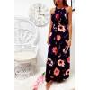 Longue robe très chic à motif marine et rose avec ceinture