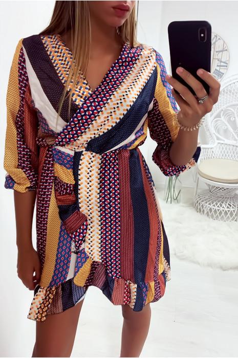 Jolie robe tunique multicolore croisé style porte feuille