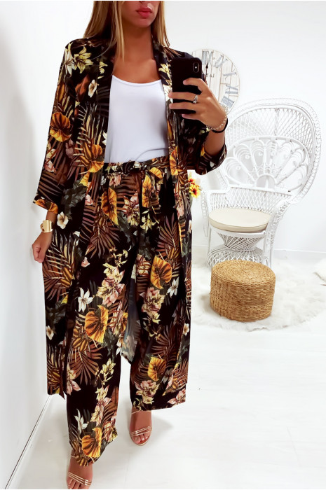 Jolie kimono long Noir fleuri avec ceinture vendu sans le pantalon