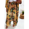 Jolie kimono long moutarde a motif feuille avec ceinture vendu sans pantalon