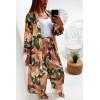 Jolie kimono long rose a motif feuille avec ceinture vendu sans pantalon