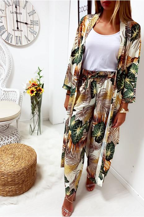 Jolie kimono long blanc a motif feuille avec ceinture vendu sans pantalon
