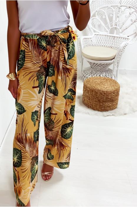 Pantalon palazzo moutarde avec joli motif feuille