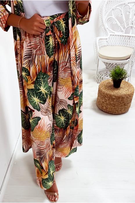 Pantalon palazzo Rose avec joli motif feuille