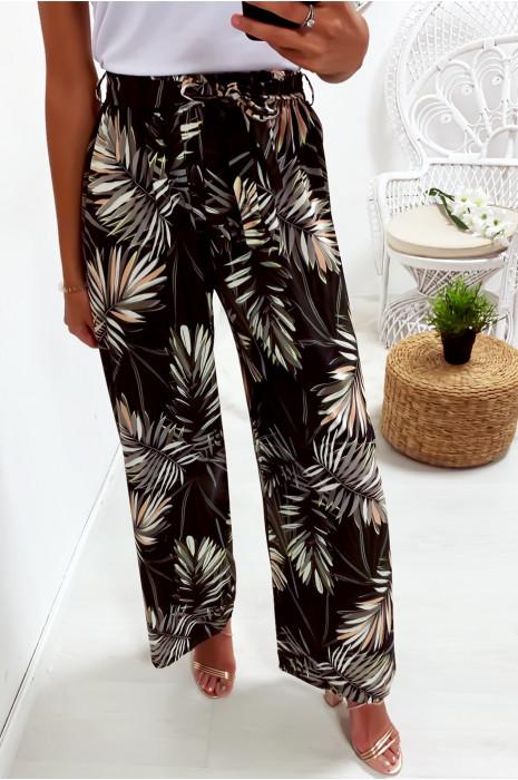 Pantalon palazzo noir avec joli motif fleuri