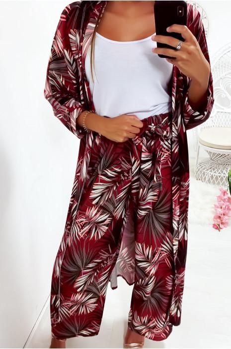 Pantalon palazzo Bordeaux avec joli motif fleuri