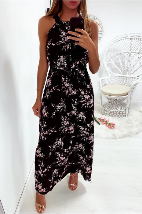 Longue robe noir très chic à motif fleuri avec ceinture