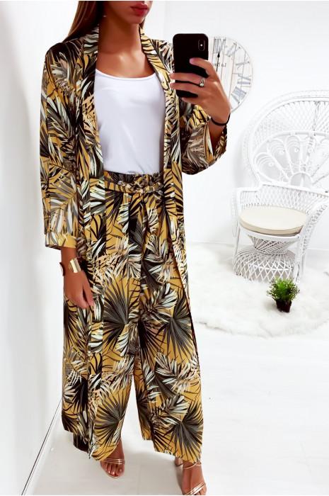 Jolie kimono long moutarde fleuri avec ceinture vendu sans pantalon