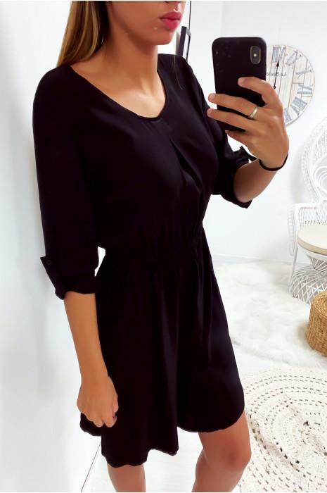 Robe tunique noir avec manche retroussé, poche et élastique à la taille