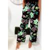 Joli pantalon palazzo en coton avec motif fleurs