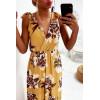 Longue robe fleuris en moutarde, croisé au buste avec noeud aux épaules