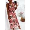 Longue robe fleuris en rose, croisé au buste avec noeud aux épaules