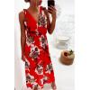 Longue robe fleuris en rouge, croisé au buste avec noeud aux épaules
