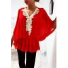 Magnifique blouse rouge coupe chauve souris avec dentelle à l'avant