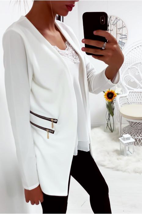 Longue veste blazer blanche avec fermeture zip