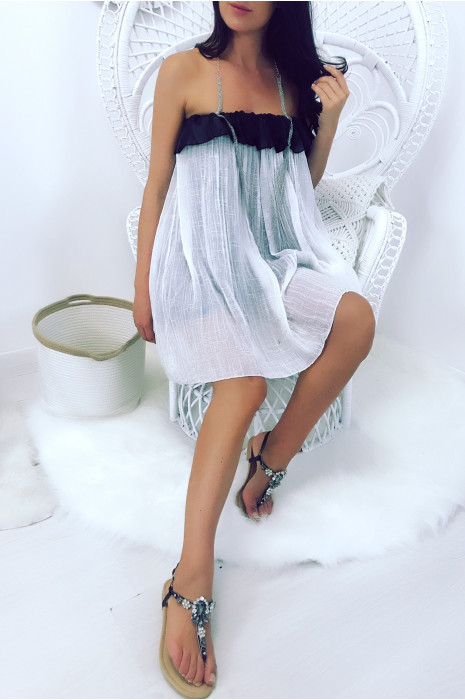 Large lined dress with ruffles and silver necklace attachment. 1328