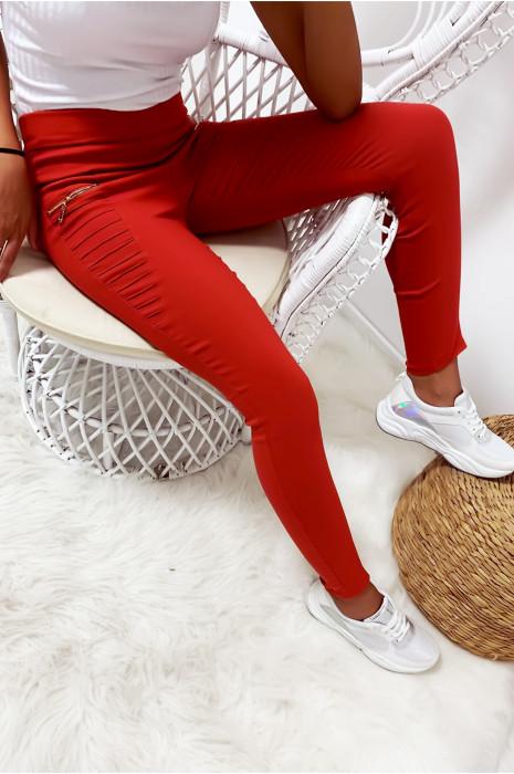 Pantalon slim stretch en brique avec zip et plis à l'avant