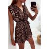 Magnifique robe tunique croisé et doublé avec ceinture en motif léopard marron
