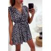 Magnifique robe tunique croisé et doublé avec ceinture en motif léopard noir
