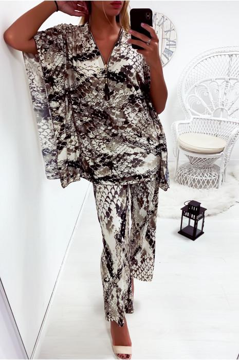 Ensemble haut style kimono et pantalon palazzo motif python en taupe avec des touches doré