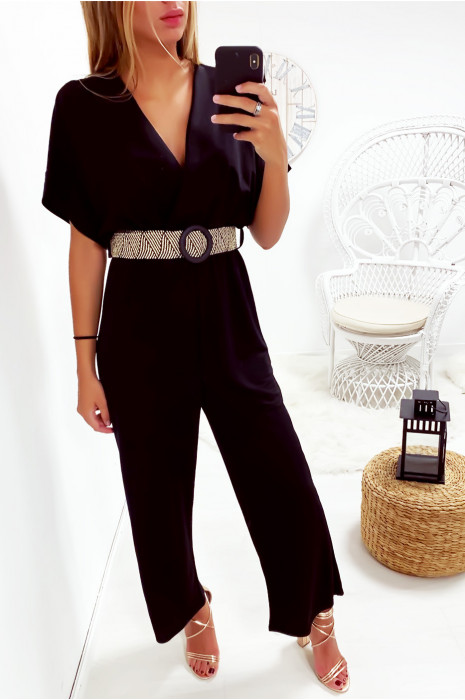 Jolie combinaison palazzo noir croisé en haut avec jolie ceinture