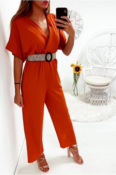 Jolie combinaison palazzo orange croisé en haut avec jolie ceinture