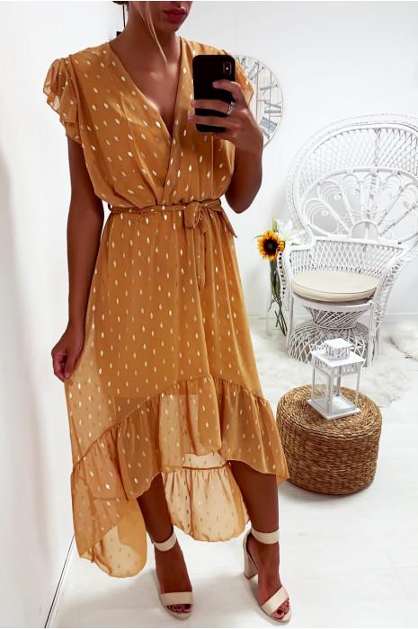 Longue robe moutarde double et croisé devant avec petits losanges doré