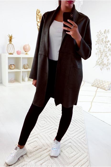 Jolie veste kaki avec poche dans une jolie matière style daim