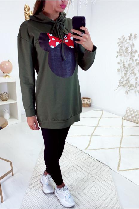 Lange kaki hoodie met hoofd- en vlindermotief op de voorkant