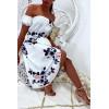 Jolie robe bustier motif fleuris en blanc avec jupe croisé et buste dénudé