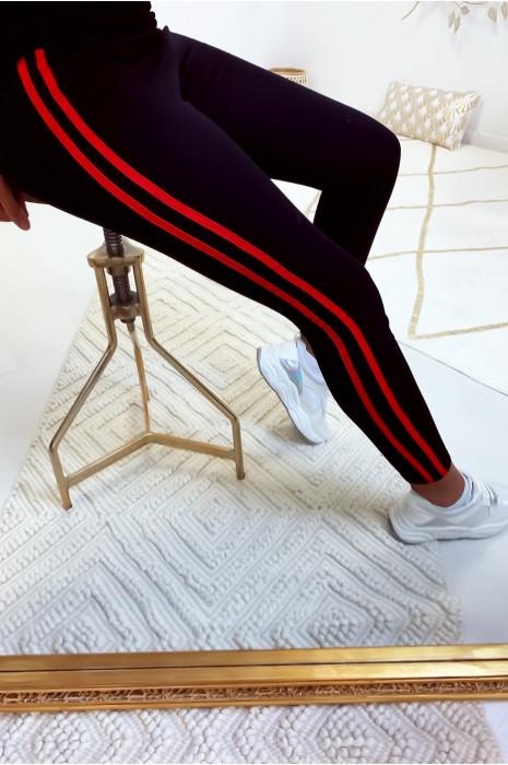 Leggings noir très extensible avec bandes latérale rouge