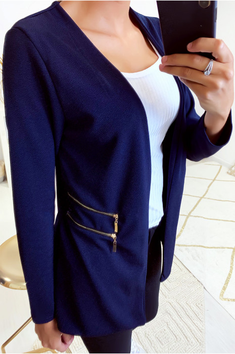 Longue veste blazer marine avec fermeture zip