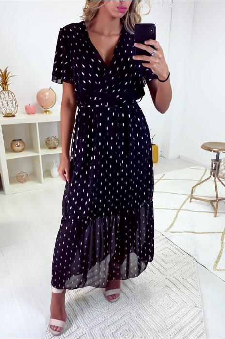 Longue robe noir croisé au buste avec ceinture en voile doublé avec de jolie touche argenté