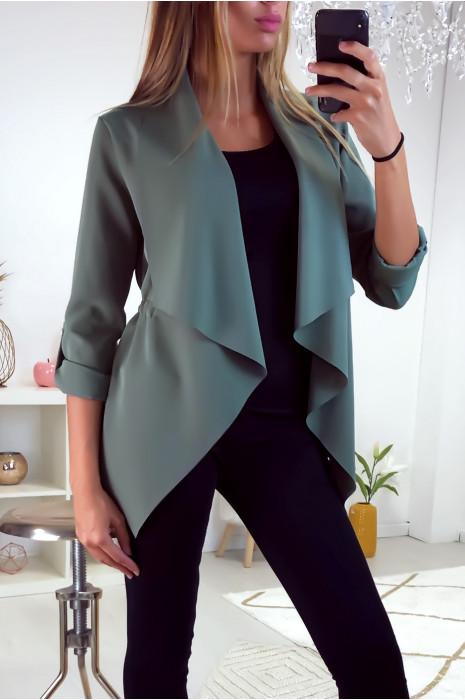 Jolie petit veste blazer verte avec col revers et élastique à la taille