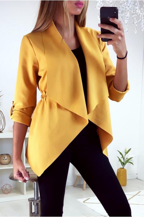 Jolie petit veste blazer moutarde avec col revers et élastique à la taille