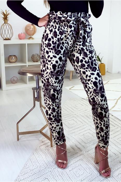 joli pantalon taille haute motif léopard avec poche et ceinture