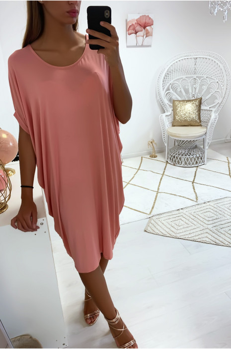 Magnifique robe tunique rose, coupe ample. Mode femme 1754