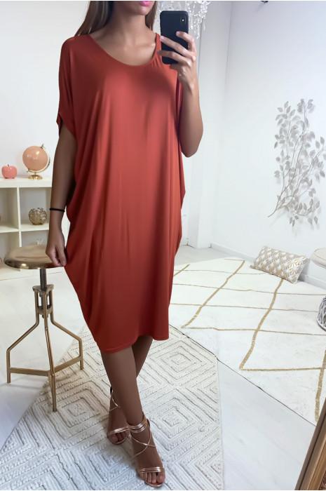 Magnifique robe tunique cognac, coupe ample. Mode femme 1754