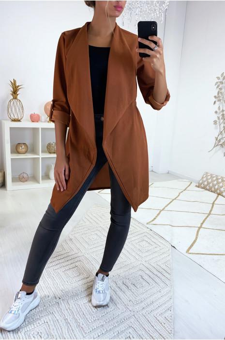 Longue veste blazer cognac avec revers au col et élastique au dos