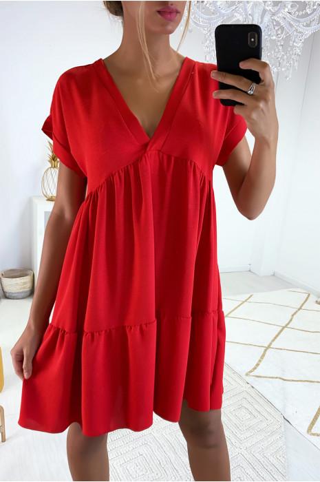 Magnifique robe tunique rouge en col V avec volant