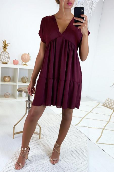 Magnifique robe tunique bordeaux en col V avec volant