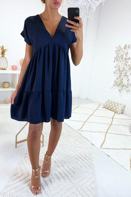 Magnifique robe tunique marine en col V avec volant